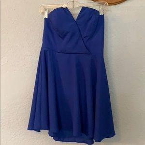 Electric blue strapless dress